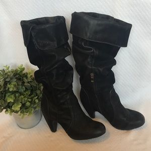 Black slouched suede heeled boots w/side zipper